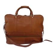 Piel Traveler 20'' Leather False Bottom Travel Duffel; Saddle