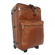 Piel Pastel Leather Collection 22'' Wheeled Traveler Suitcase; Saddle