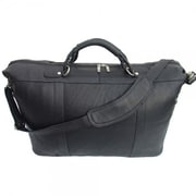 Piel Pastel Leather 20'' Large Carry-On Duffel; Black