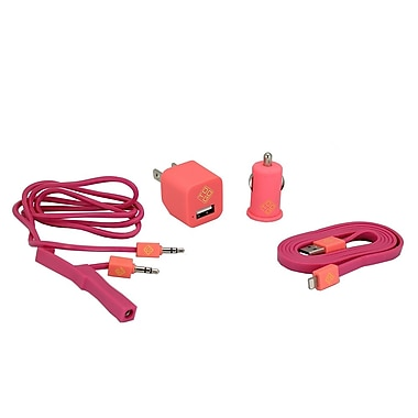 BlueDiamond ToGo Phone Accessory Kit Lightning + Wall Charger + Car Charger + 3.5 mm Audio Cable, Pink