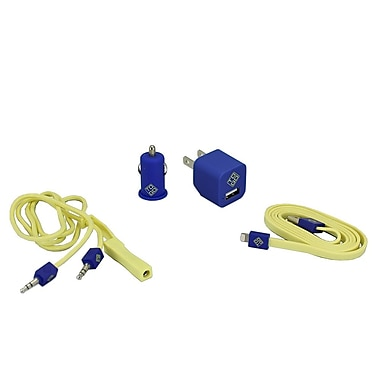 BlueDiamond ToGo Phone Accessory Kit Lightning + Wall Charger + Car Charger + 3.5 mm Audio Cable, Yellow/Blue