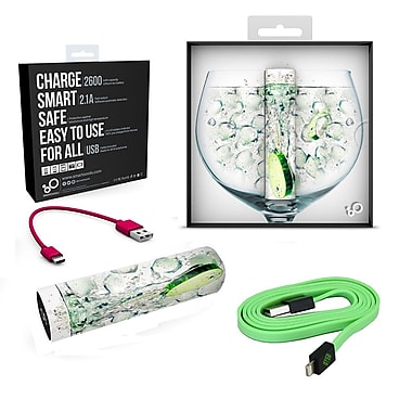 BlueDiamond ToGo Phone Charge-On-The-Go Kit Lightning + Portable Mobile Battery, Green/GinTonic