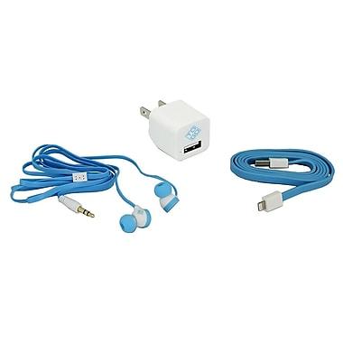 BlueDiamond ToGo – Accessoires de cellulaire, câble Lightning + chargeur mural + paire d'écouteurs-boutons, blanc/bleu