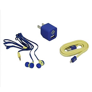 BlueDiamond ToGo Phone Accessory Kit Lightning + Wall Charger + Earbud, Yellow/Blue