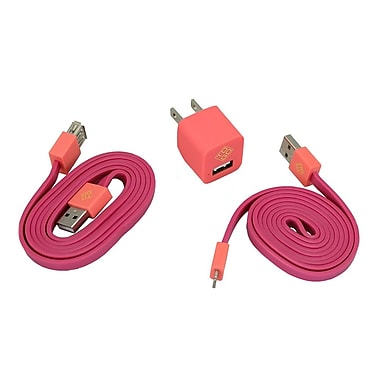 BlueDiamond ToGo Phone Accessory Kit Lightning + Wall Charger + Extension Cable, Pink