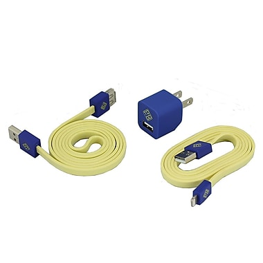 BlueDiamond ToGo Phone Accessory Kit Lightning + Wall Charger + Extension Cable, Yellow/Blue