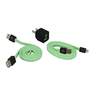 BlueDiamond ToGo Phone Accessory Kit Lightning + Wall Charger + Extension Cable, Green/Black