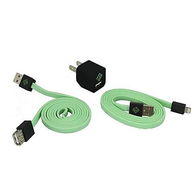 BlueDiamond ToGo – Accessoires de cellulaire, câble Lightning + chargeur mural + rallonge, vert/noir