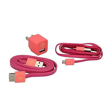 BlueDiamond ToGo Smartphone Accessory Kit Micro USB + Wall Charger + Extension Cable, Pink
