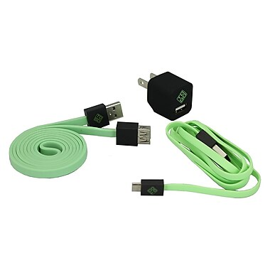 BlueDiamond ToGo Smartphone Accessory Kit Micro USB + Wall Charger + Extension Cable, Green/Black