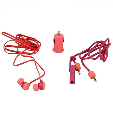BlueDiamond ToGo Mobile Accessory Kit 3.5 mm Audio Cable + Car Charger + Earbud, Pink