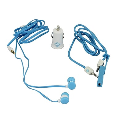 BlueDiamond ToGo Mobile Accessory Kit 3.5 mm Audio Cable + Car Charger + Earbud, White/Blue