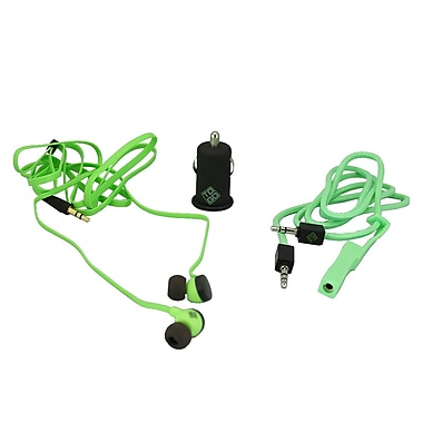BlueDiamond ToGo Mobile Accessory Kit 3.5 mm Audio Cable + Car Charger + Earbud, Green/Black