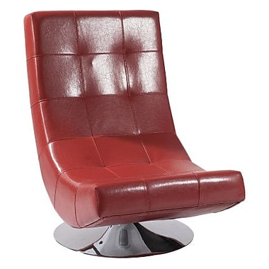 Armen Living Mario Swivel Lounge Chair; Red