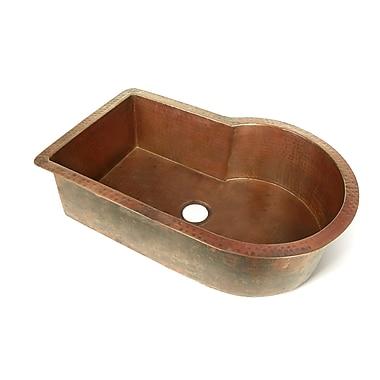 D'Vontz Copper 33'' x 22'' Nautilus Single Bowl Kitchen Sink; Dark Smoke Copper