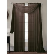 Window Elements Diamond Curtain Sheer Single Panel Scarf; Chocolate