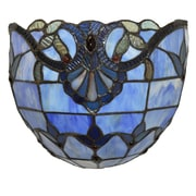 River of Goods Allistar Tiffany Style Stained Glass Wireless LED  Wall Sconce; Blue