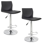 Leick Adjustable Height Swivel Bar Stool (Set of 2); Black