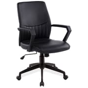 Leick High-Black Office Chair with Arms; Black
