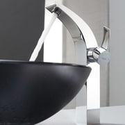 Kraus Bathroom Combos Glass Vessel Bathroom Sink with Single Handle Single Hole Faucet; Clear Black