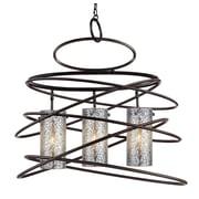Woodbridge Loop 3-Light Drum Chandelier; Iridescent mosaic cylinder
