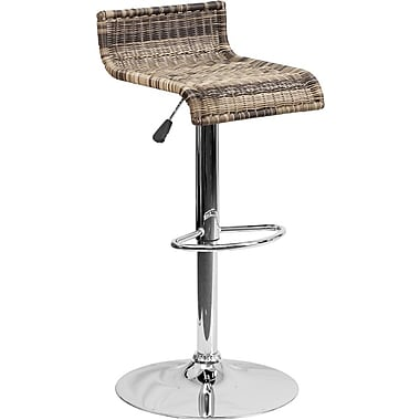 Flash Furniture – Tabouret de bar contemporain en osier de 31,25 po à hauteur ajustable, pied chromé (DS712)
