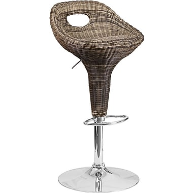 Flash Furniture – Tabouret de bar contemporain en osier à hauteur ajustable, pied chromé (DS713)