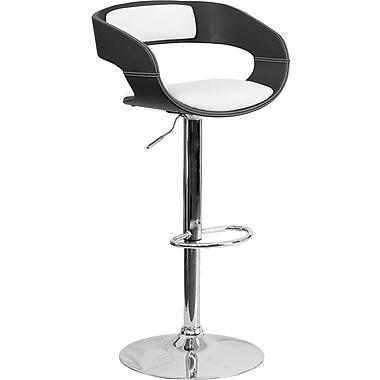 Flash Furniture – Tabouret de bar en bois cintré à hauteur ajustable, siège en vinyle, noir et blanc (SD2207)
