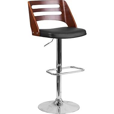 Tabouret de bar à hauteur ajustable avec dossier ajouré en bois de noyer cintré et siège en vinyle noir (SD2702WAL)