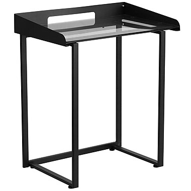 Flash Furniture NANYLCD1233 Contemporary Desk with Clear Tempered Glass and Black Frame