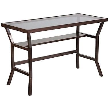 Flash Furniture – Bureau contemporain avec verre trempé gris foncé