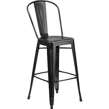 Flash Furniture – Tabouret de bar de 30 po en métal vieilli avec dossier, pour intérieur, noir (ET353430BK)