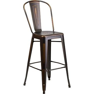 Flash Furniture – Tabouret de bar de 30 po en métal vieilli avec dossier, pour intérieur, cuivré (ET353430COP)