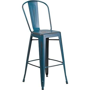 Flash Furniture – Tabouret de bar de 30 po en métal vieilli avec dossier, pour intérieur, bleu Kelly (ET353430KB)