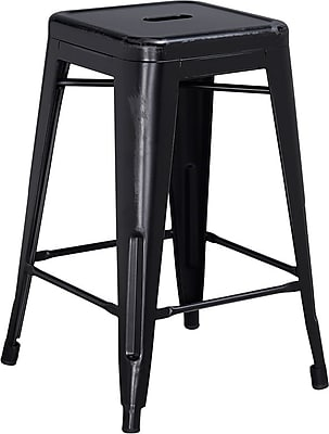 Flash Furniture 24'' High Backless Distressed Metal Indoor Counter-Height Stool, Black (ETBT350324BK)