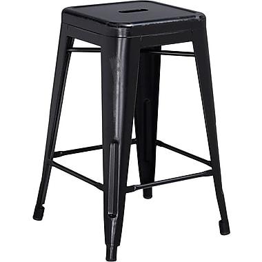 Flash Furniture – Tabouret de comptoir de 24 po en métal vieilli sans dossier, pour intérieur, noir (ETBT350324BK)