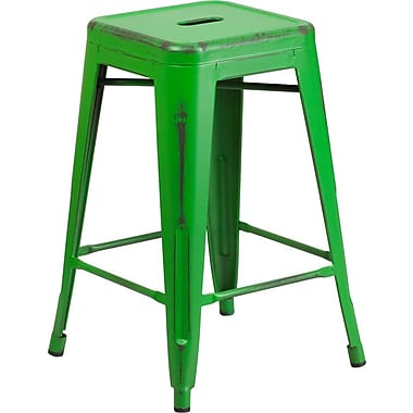 Flash Furniture 24'' High Backless Distressed Green Metal Indoor Counter Height Stool (ETBT350324GN)