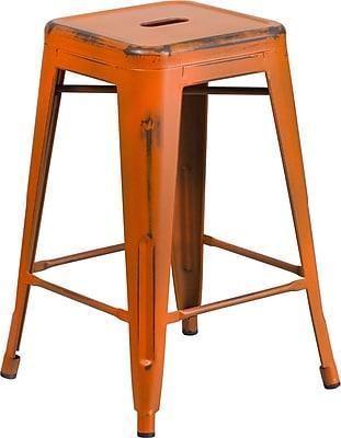 Flash Furniture 24'' High Backless Distressed Orange Metal Indoor Counter-Height Stool (ETBT350324OR)