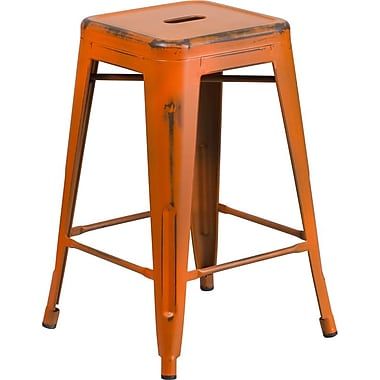 Flash Furniture 24'' High Backless Distressed Orange Metal Indoor Counter-Height Stool (ETBT350324OR)