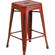 Flash Furniture 24'' High Backless Distressed Metal Indoor Counter-Height Stool, Kelly Red (ETBT350324RD)