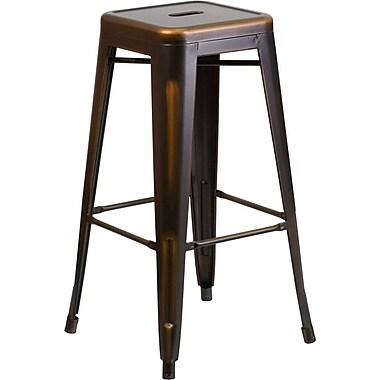 Flash Furniture – Tabouret de bar de 30 po en métal vieilli sans dossier, pour intérieur, cuivré (ETBT350330)