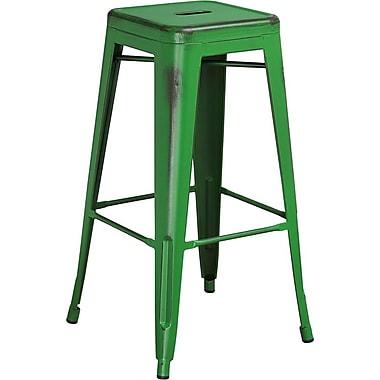 Tabouret de bar de 30 po en métal vieilli sans dossier, pour intérieur, capacité de 330 lb, vert (ETBT350330GN)
