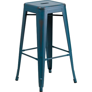 Flash Furniture 30'' High Backless Distressed Metal Indoor Barstool, Kelly Blue (ETBT350330)