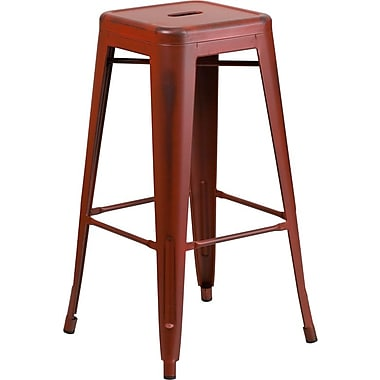 Flash Furniture 30'' High Backless Distressed Metal Indoor Barstool, Kelly Red (ETBT350330)