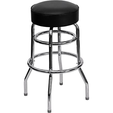 Flash Furniture – Tabouret de bar, tubulure chromée à double anneau, siège rouge (XUD100RED)