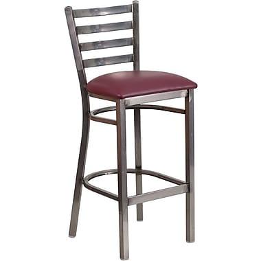 Flash Furniture – Tabouret de restaurant, traverses horizontales, métal pâle, siège en vinyle bourgogne (XUDG697CBARBRV)