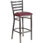 Flash Furniture HERCULES Series Clear-Coated Ladder-Back Metal Restaurant Barstool with Burgundy Vinyl Seat (XUDG697CBARBRV)