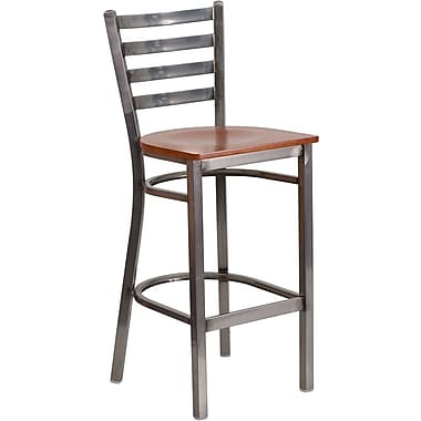 Flash Furniture HERCULES Series Clear-Coated Ladder-Back Metal Restaurant Barstool, Cherry Wood Seat (XUDG697CBARCHW)