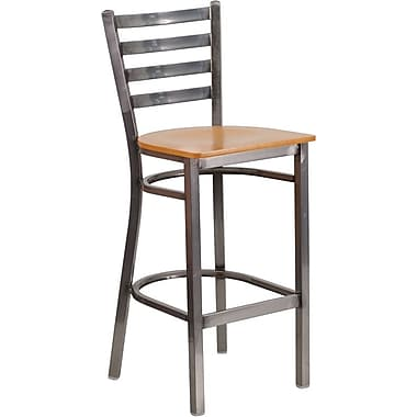 Flash Furniture HERCULES Series Clear Coated Ladder Back Metal Restaurant Barstool, Natural Wood Seat (XUDG697CBARNTW)