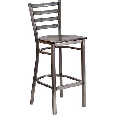 Flash Furniture – Tabouret de restaurant HERCULES à traverses horizontales, métal pâle, siège en noyer (XUDG697CBARWAW)